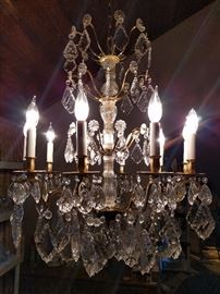Beautiful Italian 10-light chandelier - this one has very heavy crystal prisms.