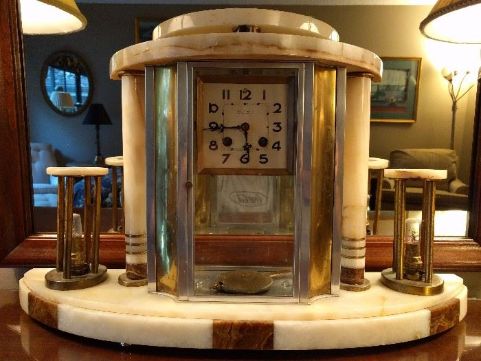 French Art Deco marble clock.