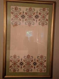 Nicely framed Norwegian hand embroidered textile.