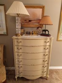 Vintage French Provincial chest of drawers, with crystal lamp, cowgirl lamp + special things.
