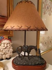 Cowgirl lamp, with whipstitched shade - cute!