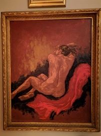 Female nude, so excited by the fabby gilt wood frame, she's levitating off of her matador boyfriend's red cape.