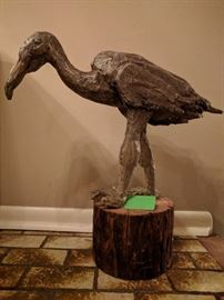Vintage bald egret metal sculpture, by Carl L. Blair, Greenville, SC, 1967.