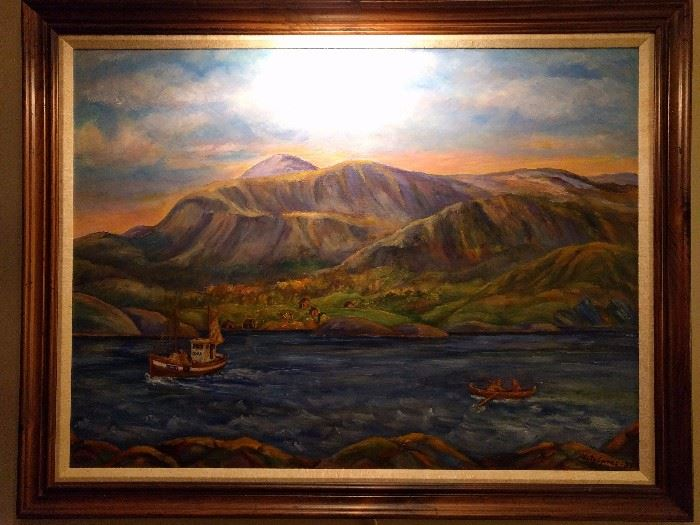 Original oil painting (with gallery light) by Norwegian artist, Kitty Soren.