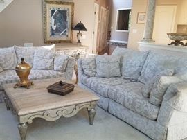 "Pair of matching Henredon sofas, upgraded fabric, down cushions, 90""x42x32"""