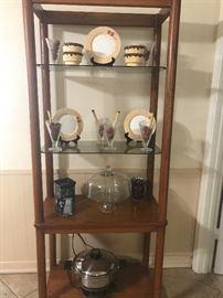 Wood and glass shelf.