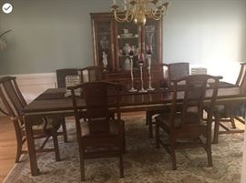 This Beautiful Formal Dining Room set  from BASSETT with two inserts has seating for 6 but could easily seat 8 comfortably.