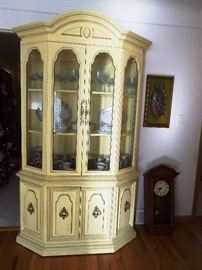 French Provencial lighted china cabinet