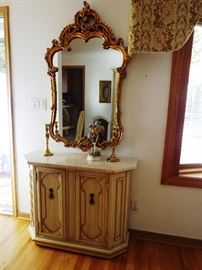 French Provencial console cabinet and ornate mirror