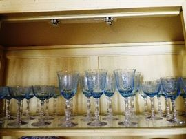 "Fostoria ""Navarre Blue"" stemware  33 pieces"