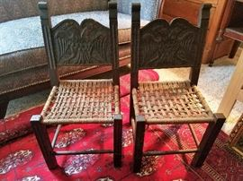 Antique carved back with woven seats Child's/Children's Chair