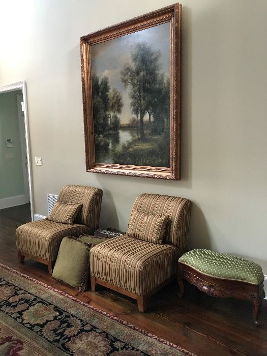 Custom Chairs Ottomans Large Oil Paintings
