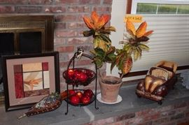 Art, Billows, 2 Tiered Tray, Faux Fruit, Potted Plant and Decorative Car