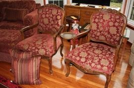 "Pair of Upholstered Chairs with Accent Pillows, and Dog ""Bellhop"" Table"