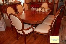 Dining Room with 8 Chairs, 2 Leaves, Server and China Cabinet