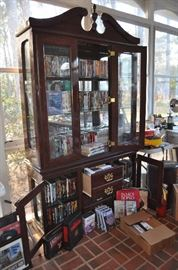 Queen Anne China Cabinet - full of DVD's and VHS's