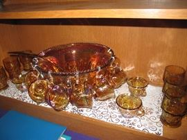 Carnival Glass Punch Bowl & Glasses