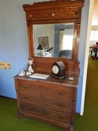 Antique/Vintage 'Eastlake' Marble top Vanity Dresser 1860's Walnut