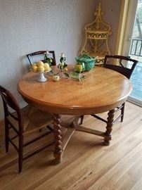 Vintage Barley Twist Table with 4 Rush Seat Chairs.  Love this table!
