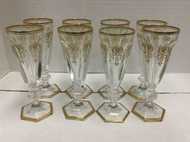 8 Baccarat champagne glasses 7""