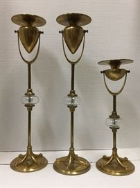"3 Chapman antique bronze candlesticks with glass globes 19"", 18 3/4, 13 1/2"