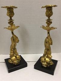 "2 Vintage koi candlesticks 14.5""High"
