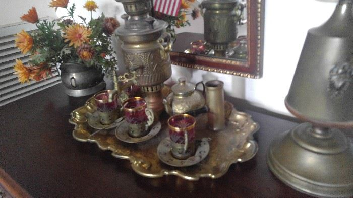 Cranberry glass & brass antique coffee set