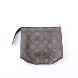 d303b3800ba9 Louis Vuitton Monogram Zipper Pouch: A Louis Vuitton monogram zipper pouch.  This brown pouch