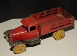30's Pressed Metal Stake bed red Truck Wyandotte