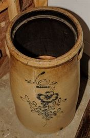 DECORATED BUTTER CHURN WITH OLD WIRE REPAIR