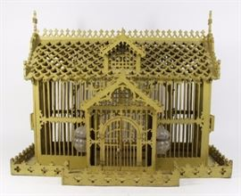 Lot 8: Early 20th Century Wooden Bird Cage