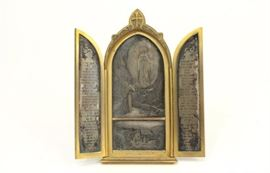 Lot 26: 19th Century Bronze & Possibly Silver Triptych