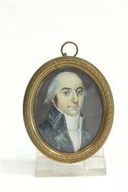 Lot 91: Oval Portrait Miniature of Gentleman