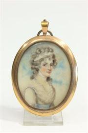 Lot 94: Handpainted Oval Portrait Miniature