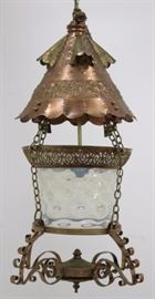 Lot 143: Hammered Copper & Metal Moroccan Style Chandelier
