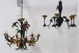 Lot 158: 2 Painted Metal Chandeliers