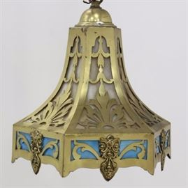 Lot 142: Brass & Slag Glass Ceiling Fixture