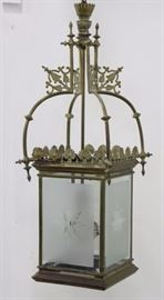 Lot 161: Brass Lantern with Frosted & Etched Shades
