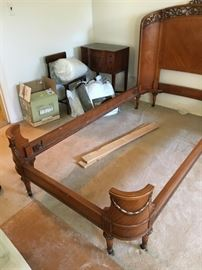 Antique Satinwood Twin Beds with Carved and Curved Head and Foot-boards has matching Highboy and Vanity Dresser.