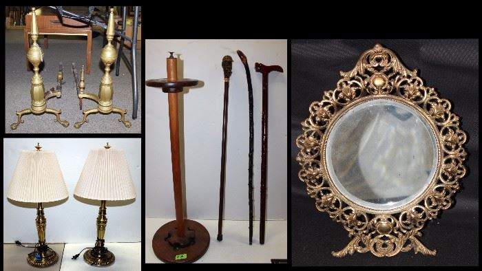 Andirons, lamps, canes, mirror