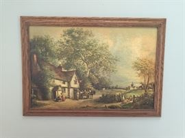 Large French Country Scene Print