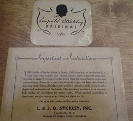 Stickley chest tag