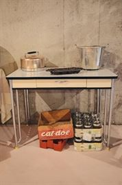 Enamel 1-drawer kitchen table (perfect condition!), Vintage Covered Cake Pan, Canning Jars, Vintage Wooden Crate