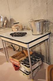 Enamel 1-drawer kitchen table (perfect condition!), Vintage Covered Cake Pan, Canning Jars, Vintage Wooden Crate, Bread Maker, Cast Iron Bread Print
