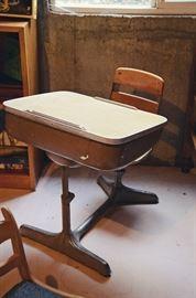 Antique metal school chair & desk