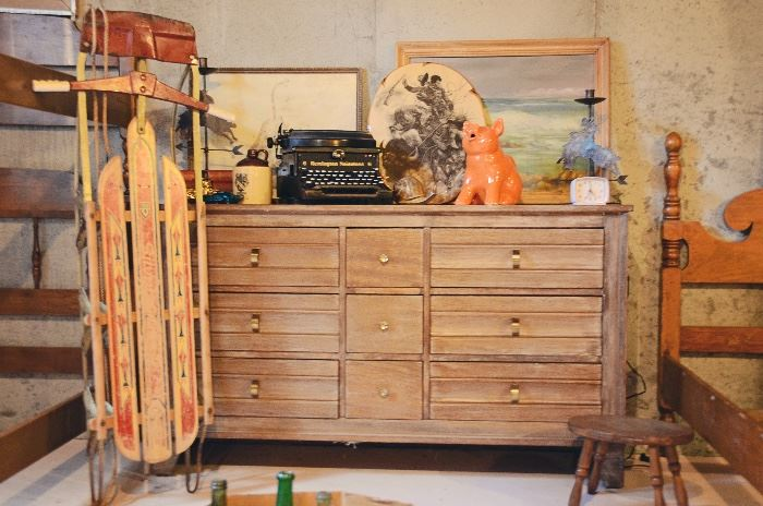 Mid-centuryPhillipine mahogany 9 drawer dresser (by Starline), Remington Noiseless 6 Typewriter, Pig Pitcher, Vintage Sled, Framed Prints & Paintings, Cowboy Candlestick Holders, Vintage Stool