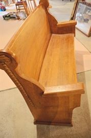 Church pew with barley twist details with angled in arms