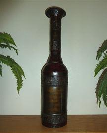 "Metal decorative vase.  24"" tall"