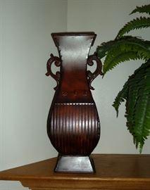 "Metal decorative vase.  17"" tall"