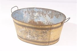 Antique Oval Tole Metal Bucket